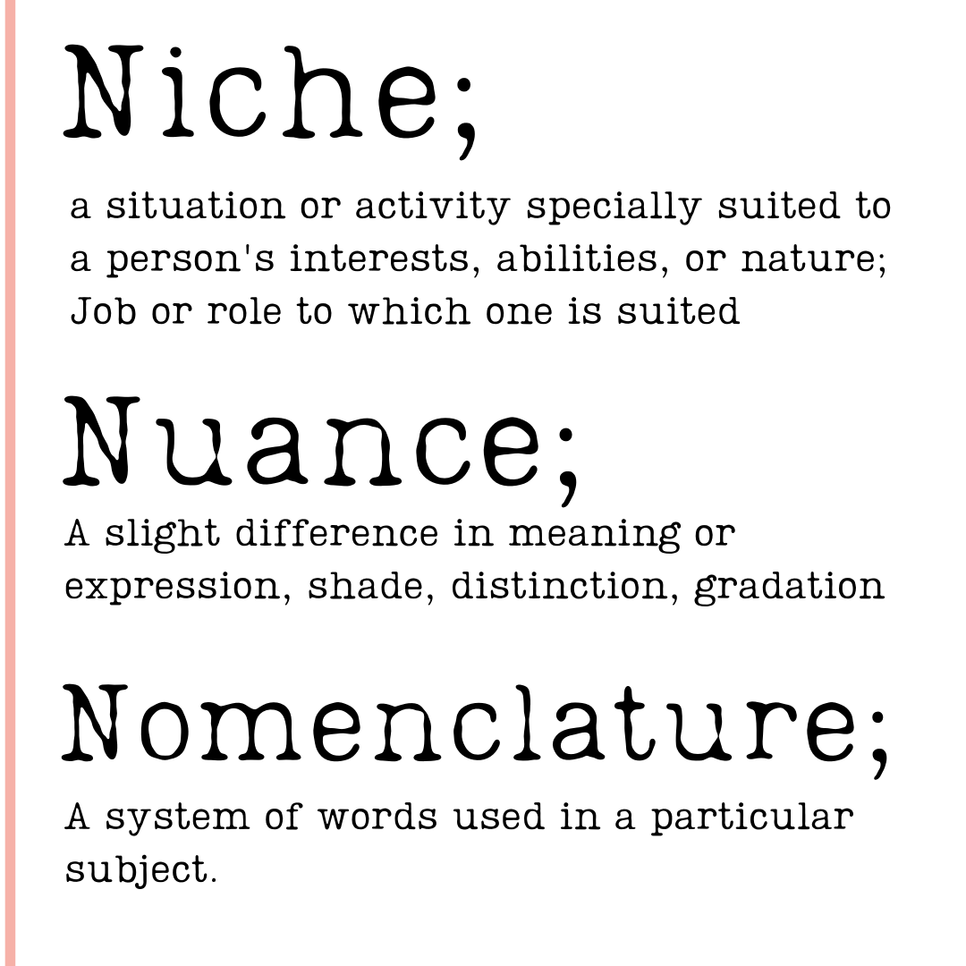 Niche a situation or activity specially suited to a persons interests, abilities or nature. Job or role to which one is suited